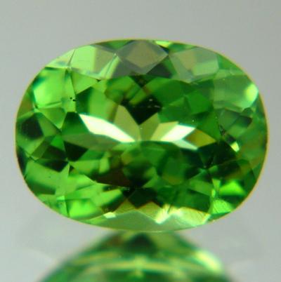 Green oval Tsavorite