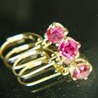 untreated rubellite earrings