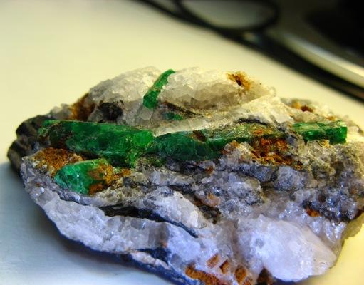 set of pakistani emerald crystals on matrix