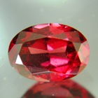 oval red garnet with certificate and untreated color