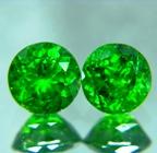 pair of pure green certified russian demantoids