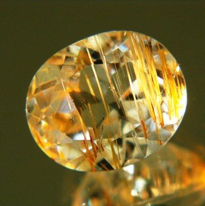 Golden yellow needles rutilated topaz